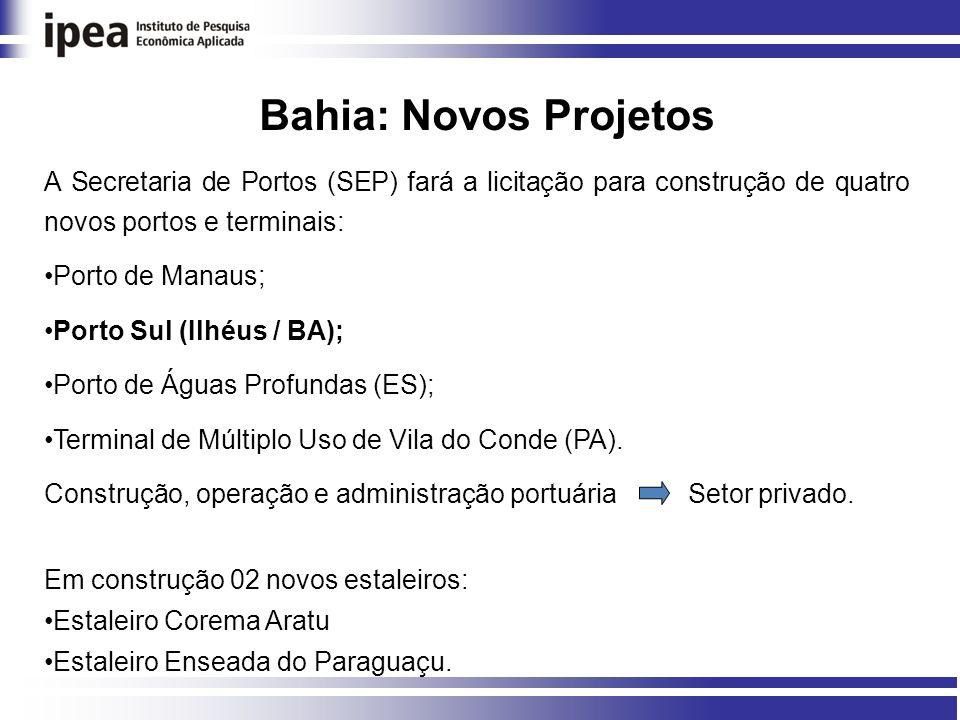 Bahia: Novos Projetos A Secretaria de Portos (SEP) fará a licitação para construção de quatro novos portos e terminais: