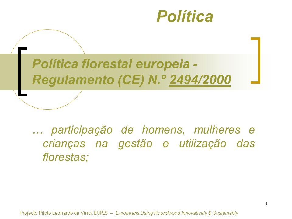 Política Política florestal europeia - Regulamento (CE) N.º 2494/2000