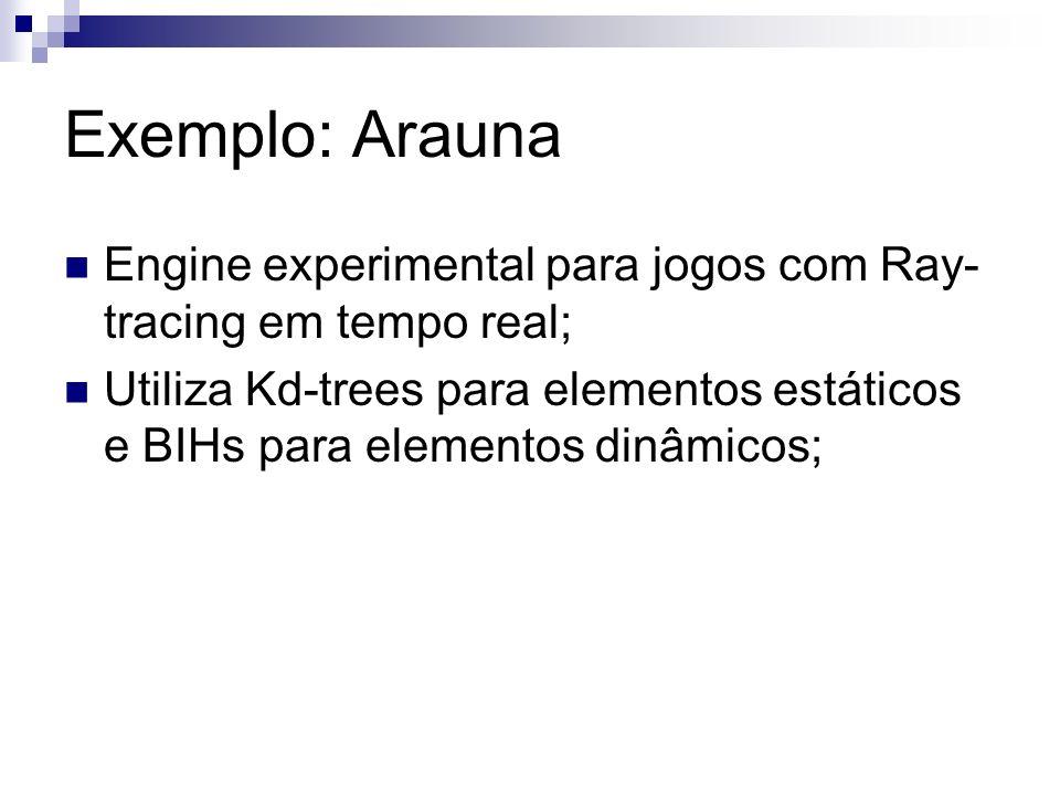 Exemplo: Arauna Engine experimental para jogos com Ray-tracing em tempo real;