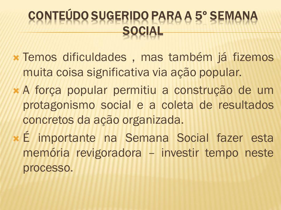 Conteúdo sugerido para a 5º Semana Social
