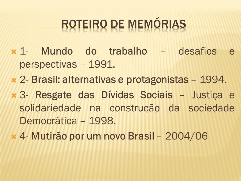 Roteiro de memórias 1- Mundo do trabalho – desafios e perspectivas – 1991. 2- Brasil: alternativas e protagonistas – 1994.