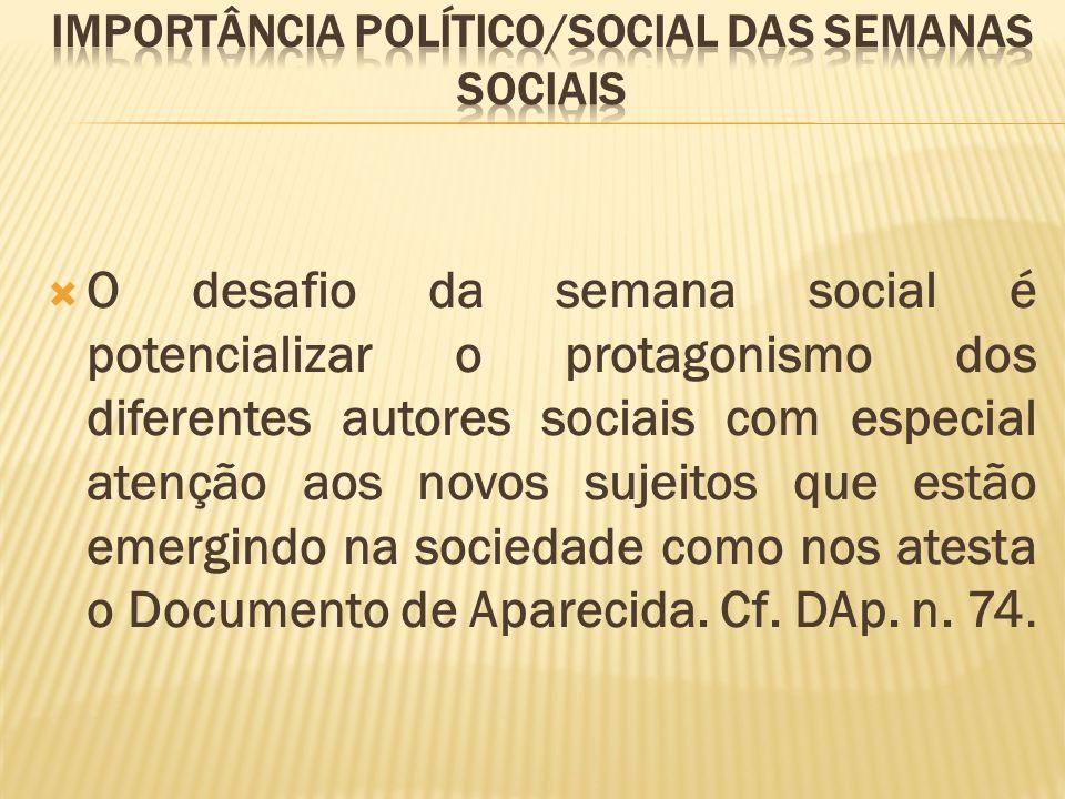 Importância político/social das Semanas Sociais