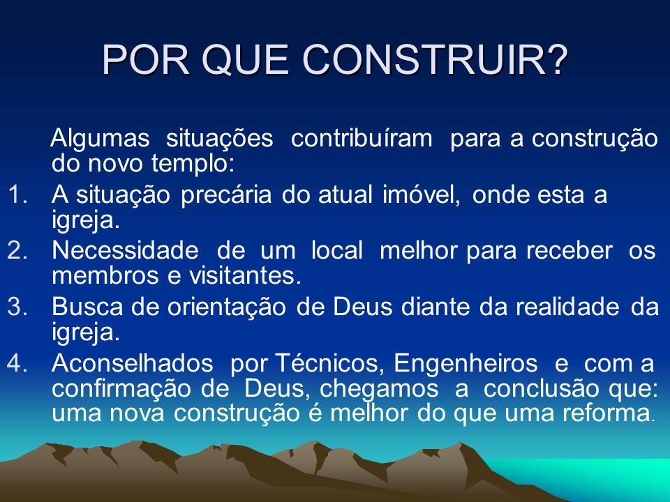 POR QUE CONSTRUIR Algumas situações contribuíram para a construção do novo templo: A situação precária do atual imóvel, onde esta a igreja.