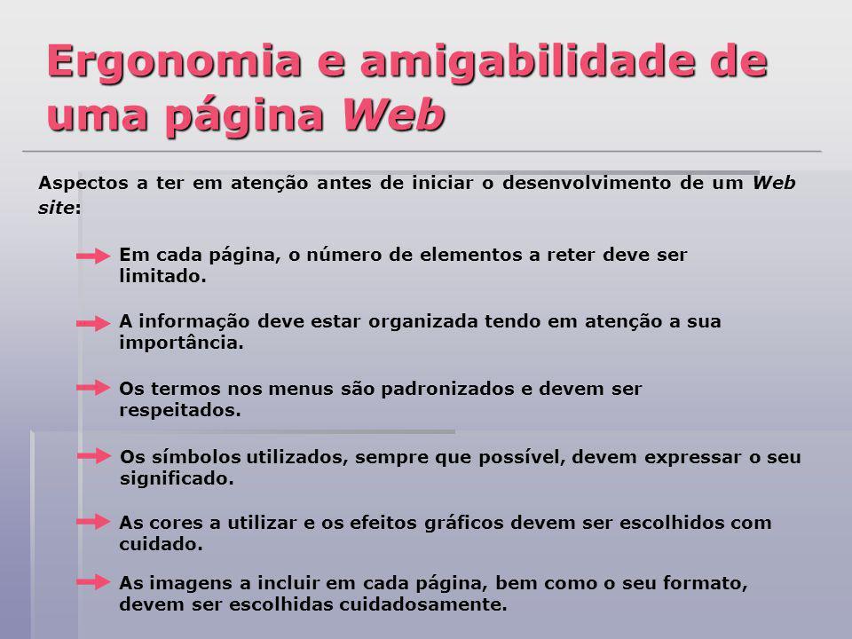 Ergonomia e amigabilidade de uma página Web