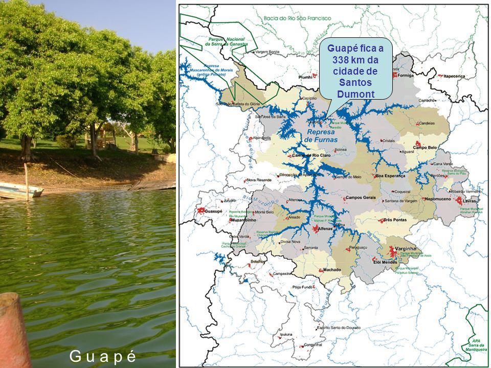 Guapé fica a 338 km da cidade de Santos Dumont