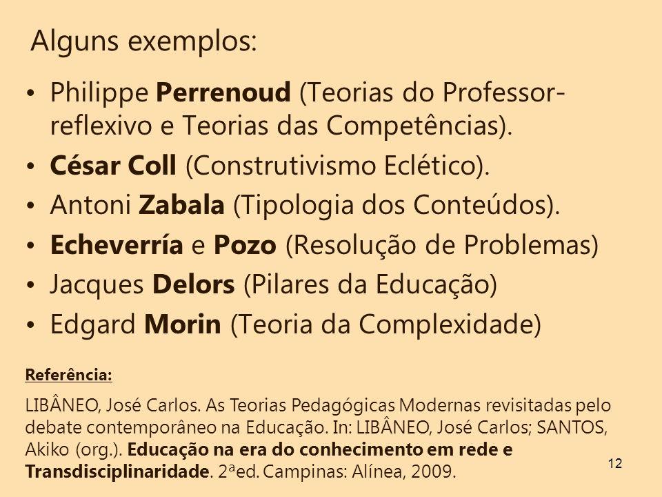 Alguns exemplos: Philippe Perrenoud (Teorias do Professor-reflexivo e Teorias das Competências). César Coll (Construtivismo Eclético).