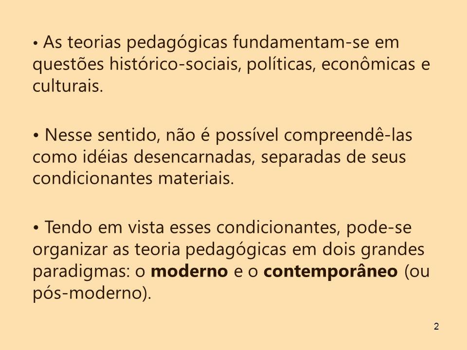 As teorias pedagógicas fundamentam-se em questões histórico-sociais, políticas, econômicas e culturais.
