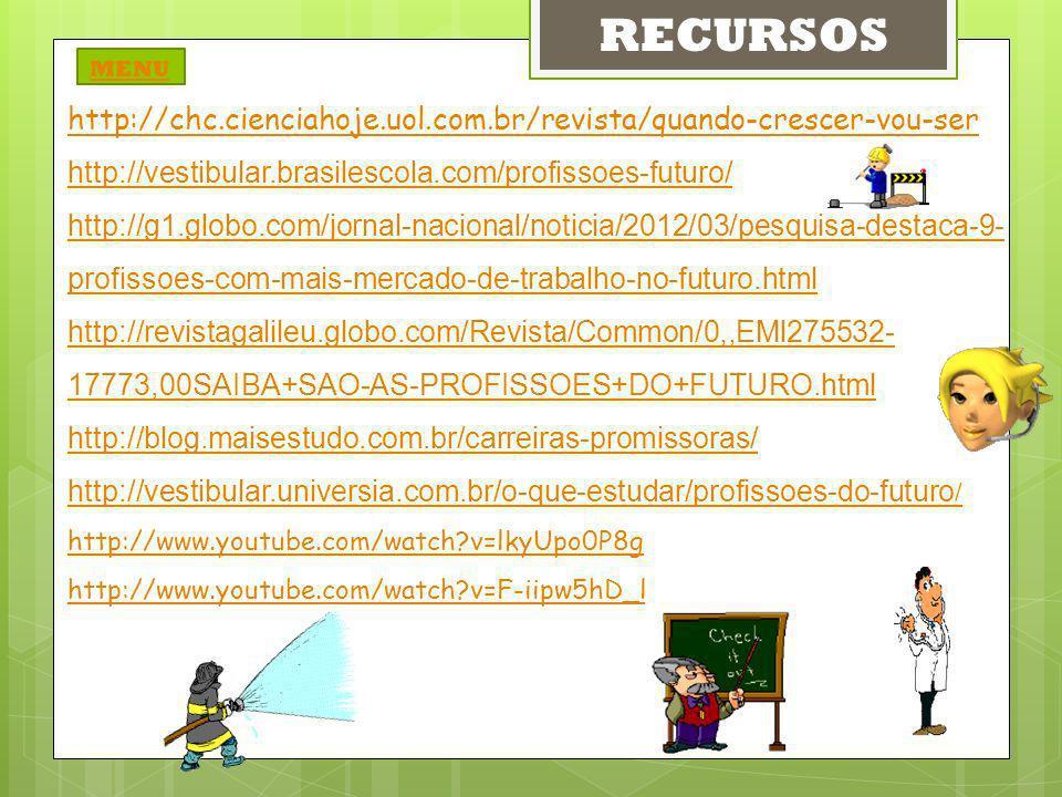 RECURSOS MENU. http://chc.cienciahoje.uol.com.br/revista/quando-crescer-vou-ser. http://vestibular.brasilescola.com/profissoes-futuro/