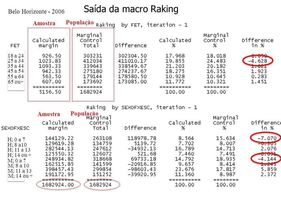 Metodologia Saída da macro Raking Belo Horizonte - 2006 Amostra