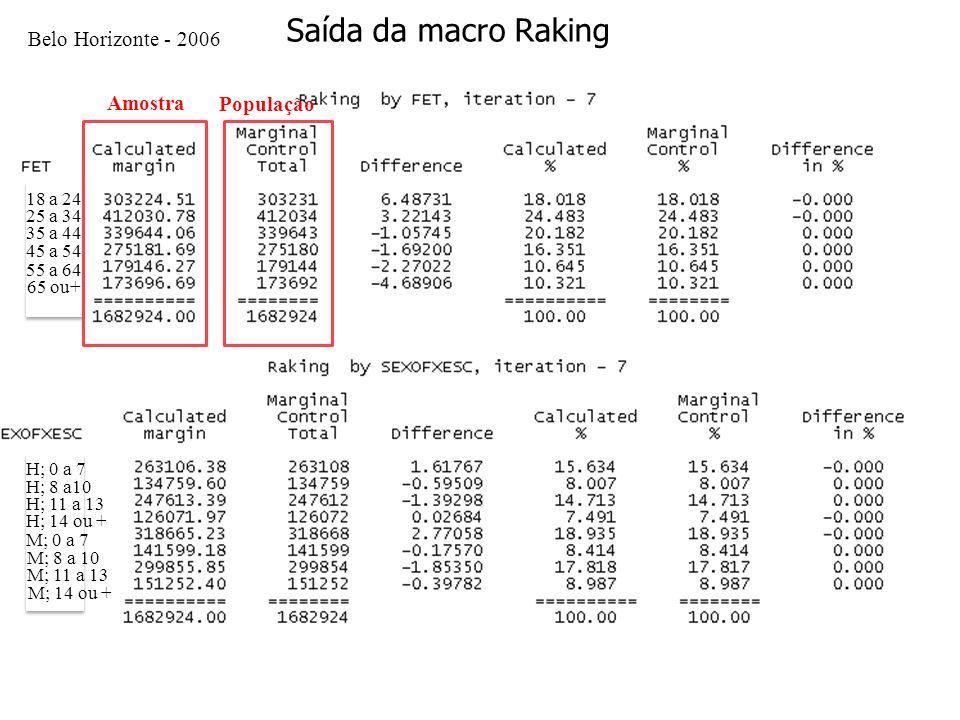 Saída da macro Raking Belo Horizonte - 2006 Amostra População 18 a 24