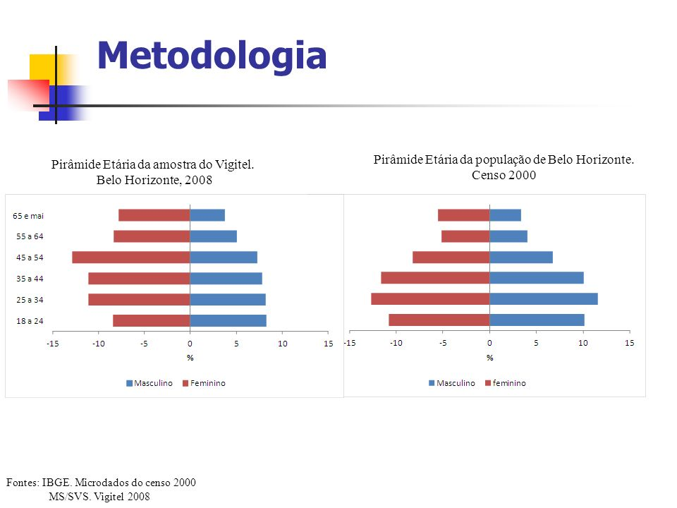 Metodologia Pirâmide Etária da população de Belo Horizonte.