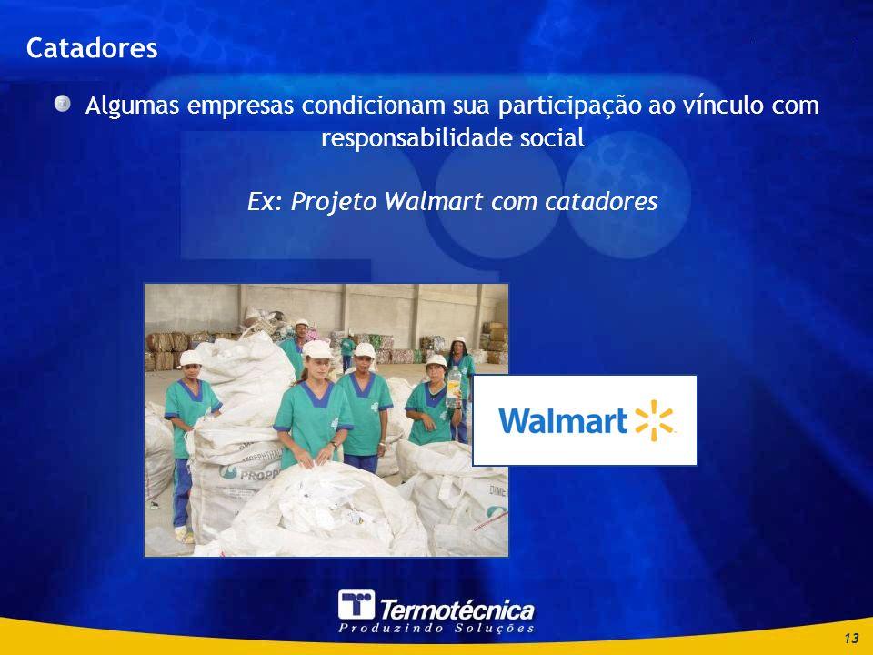 Catadores Algumas empresas condicionam sua participação ao vínculo com responsabilidade social Ex: Projeto Walmart com catadores.