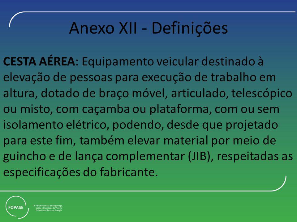 Anexo XII - Definições CESTA AÉREA: Equipamento veicular destinado à elevação de pessoas para execução de trabalho em.
