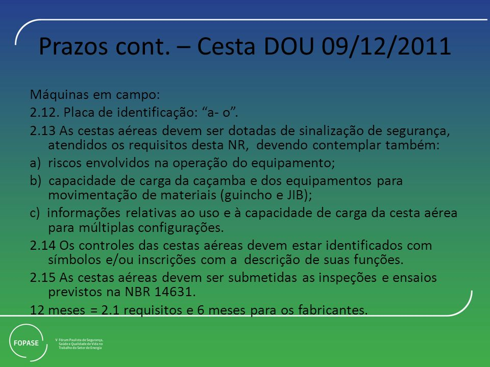 Prazos cont. – Cesta DOU 09/12/2011