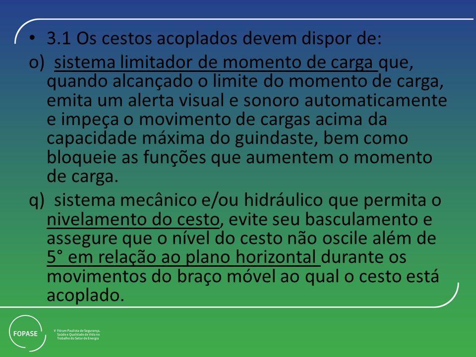 3.1 Os cestos acoplados devem dispor de: