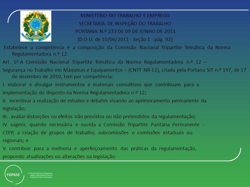 MINISTÉRIO DO TRABALHO E EMPREGO SECRETARIA DE INSPEÇÃO DO TRABALHO PORTARIA N.º 233 DE 09 DE JUNHO DE 2011 (D.O.U.