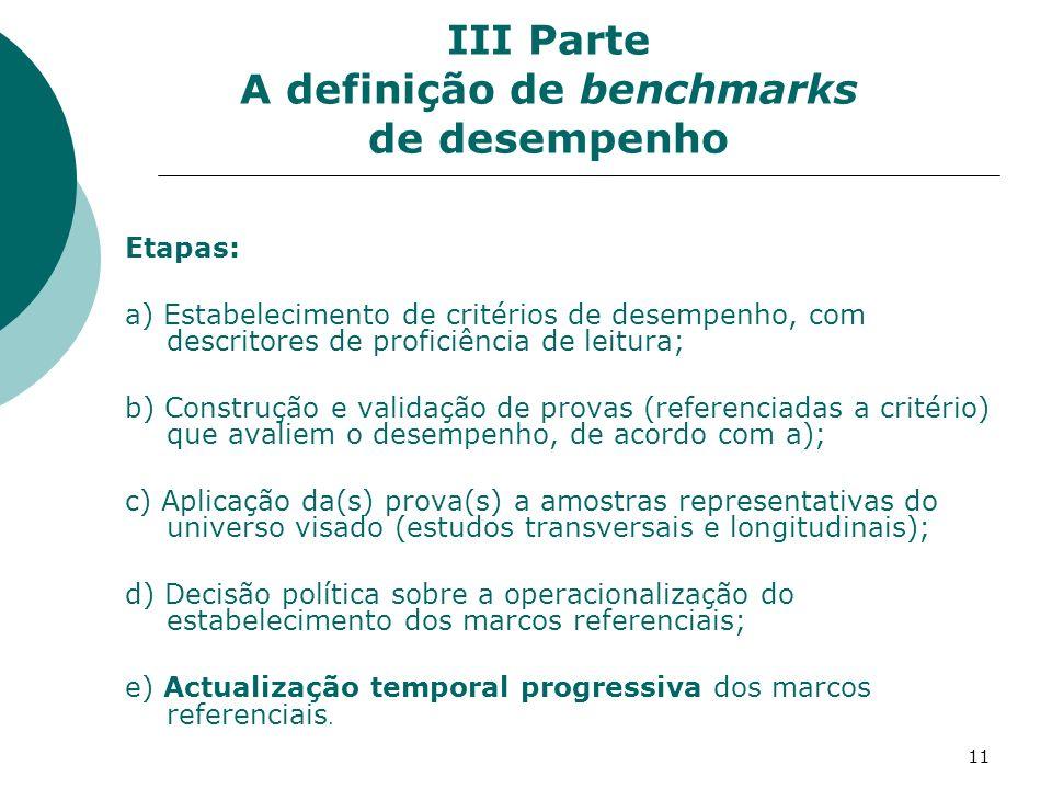 III Parte A definição de benchmarks de desempenho