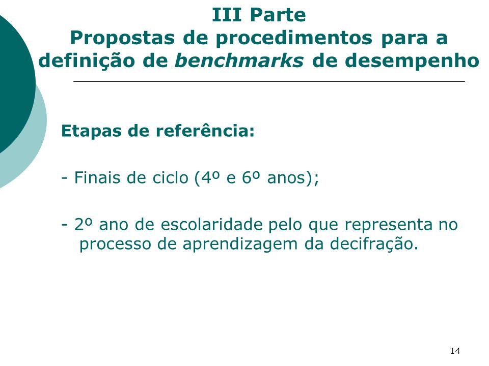 III Parte Propostas de procedimentos para a definição de benchmarks de desempenho