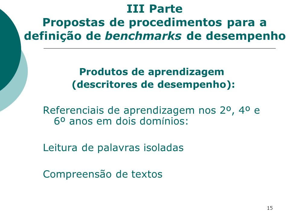 Produtos de aprendizagem (descritores de desempenho):