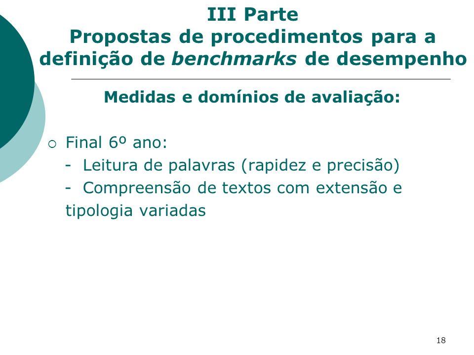 Medidas e domínios de avaliação: