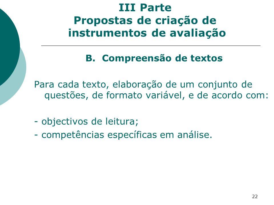 III Parte Propostas de criação de instrumentos de avaliação