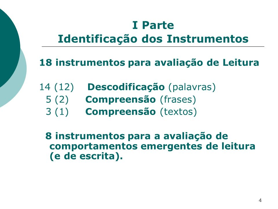 I Parte Identificação dos Instrumentos