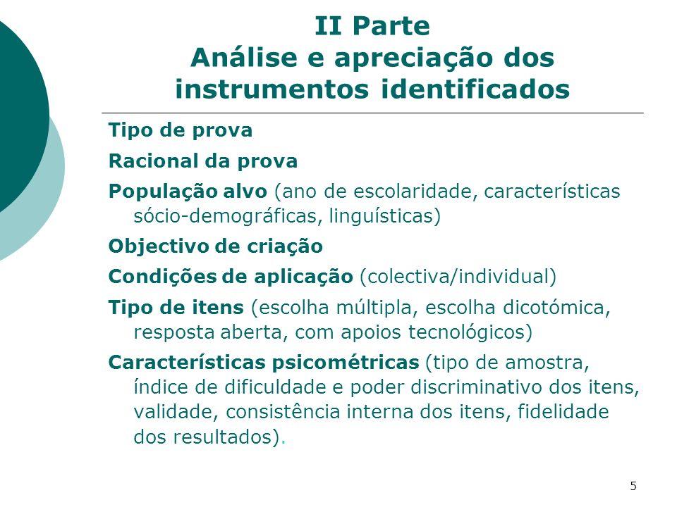 II Parte Análise e apreciação dos instrumentos identificados