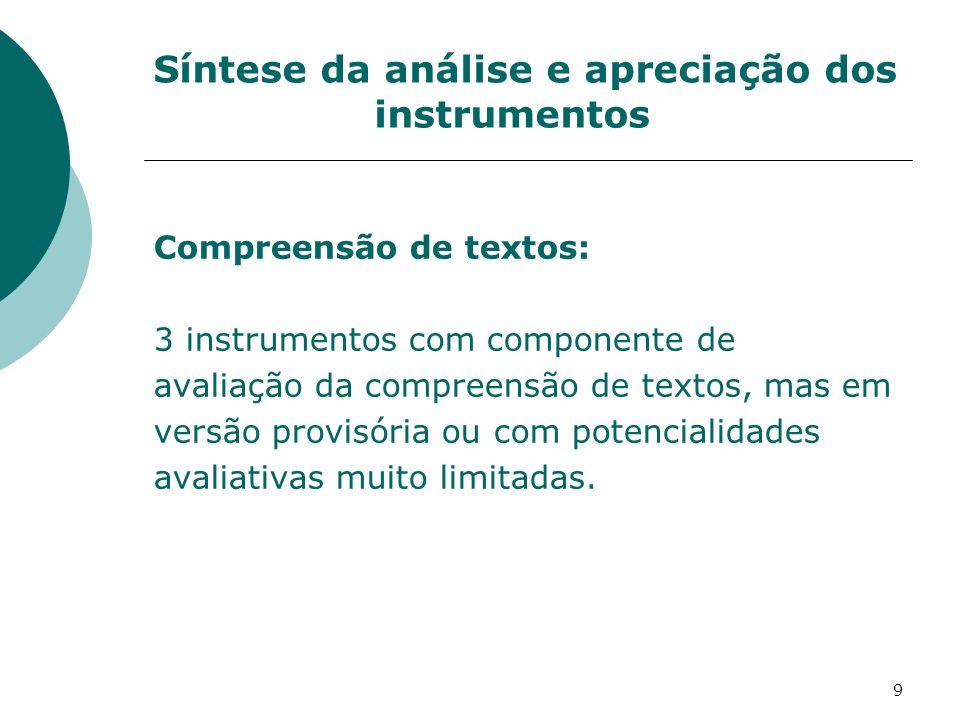 Síntese da análise e apreciação dos instrumentos