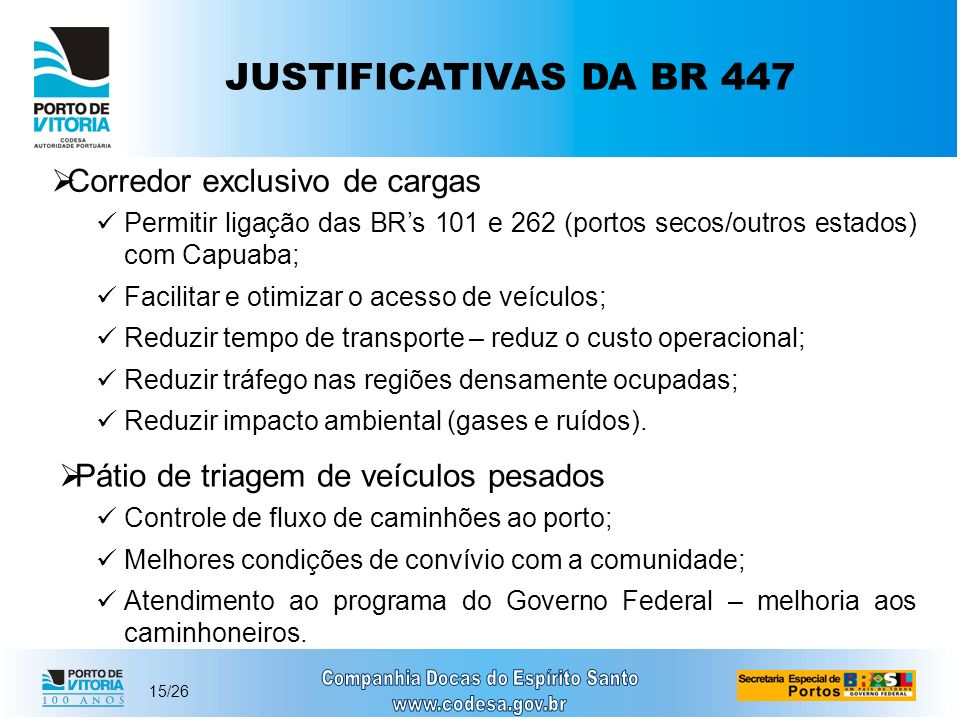 JUSTIFICATIVAS DA BR 447 Corredor exclusivo de cargas