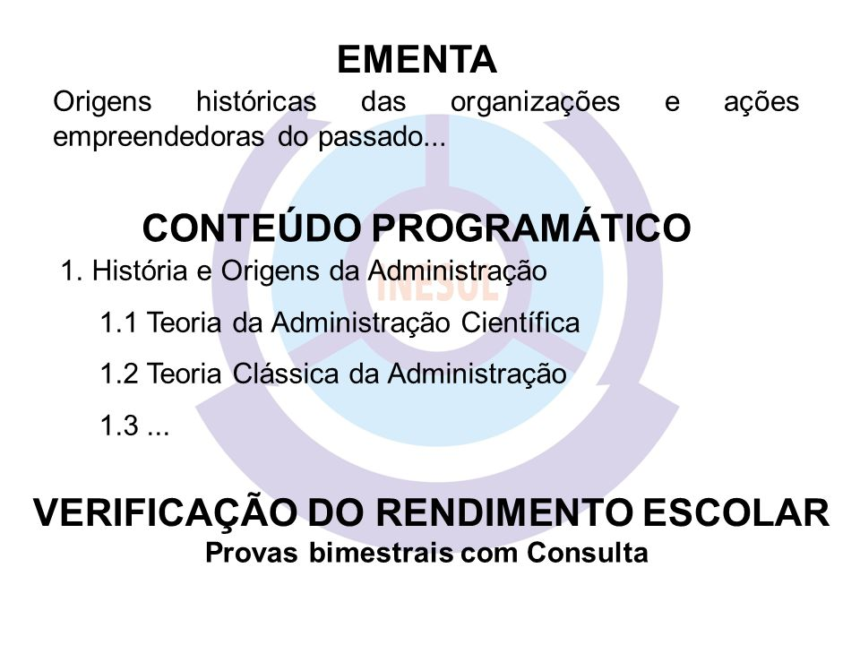 EMENTA CONTEÚDO PROGRAMÁTICO VERIFICAÇÃO DO RENDIMENTO ESCOLAR