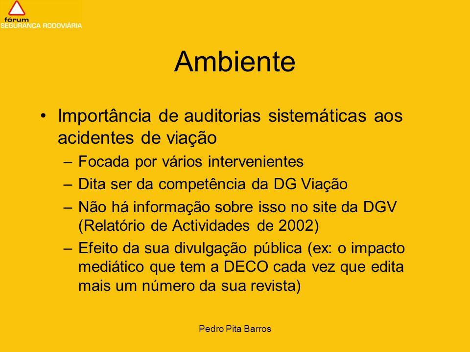 Ambiente Importância de auditorias sistemáticas aos acidentes de viação. Focada por vários intervenientes.
