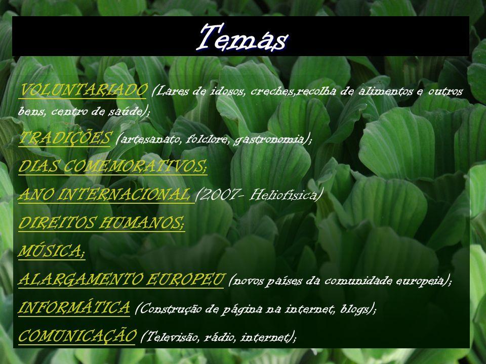 Temas VOLUNTARIADO (Lares de idosos, creches,recolha de alimentos e outros bens, centro de saúde); TRADIÇÕES (artesanato, folclore, gastronomia);