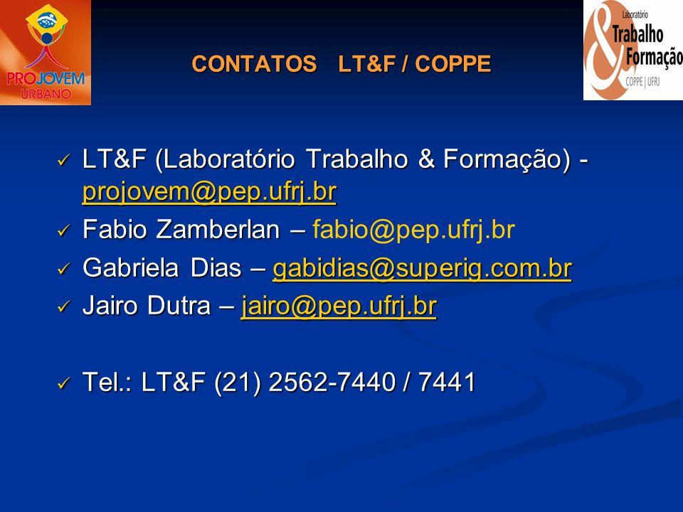 LT&F (Laboratório Trabalho & Formação) - projovem@pep.ufrj.br