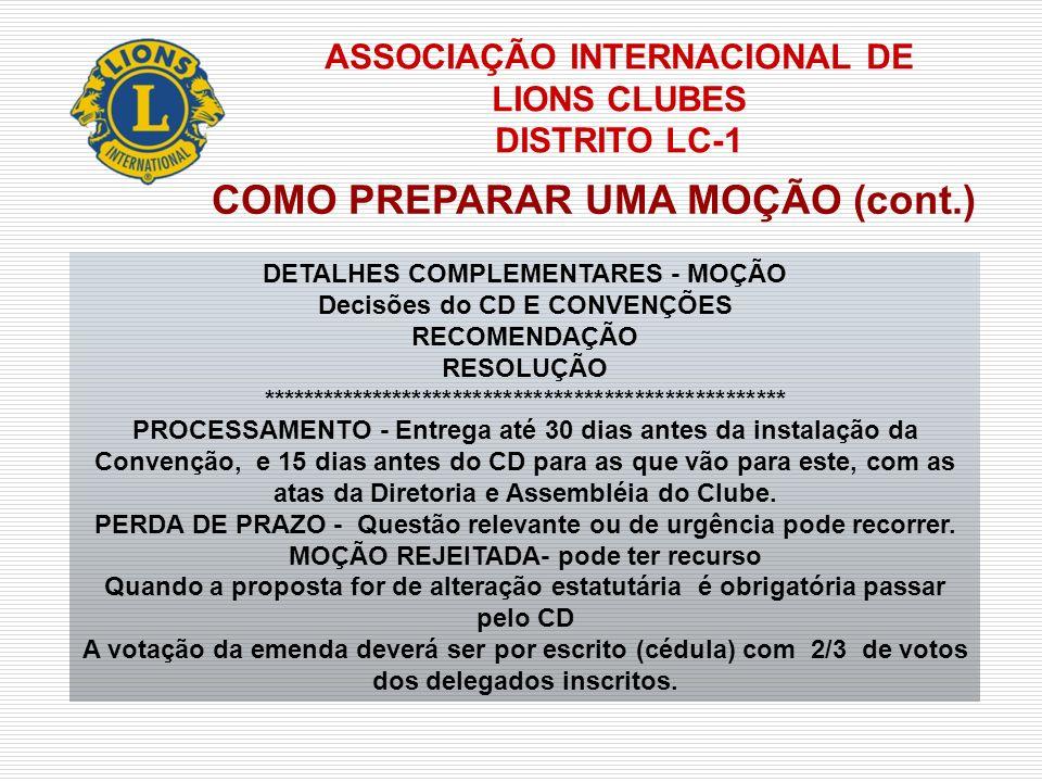 ASSOCIAÇÃO INTERNACIONAL DE LIONS CLUBES DISTRITO LC-1