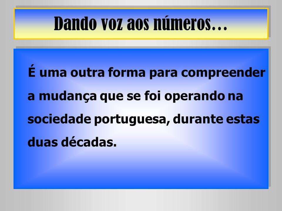 Dando voz aos números… É uma outra forma para compreender a mudança que se foi operando na sociedade portuguesa, durante estas duas décadas.