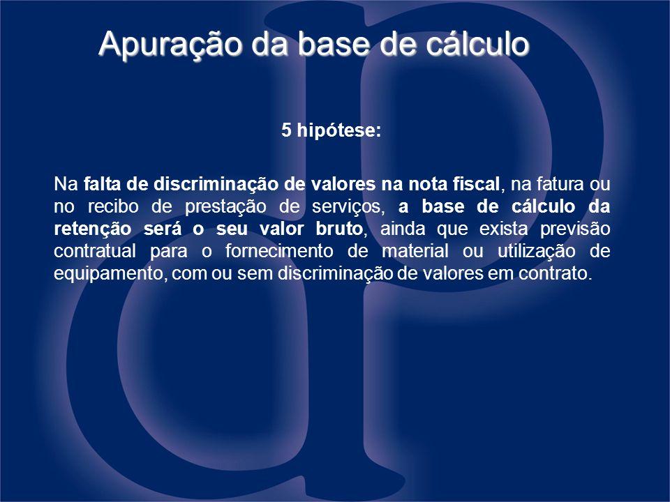 Apuração da base de cálculo