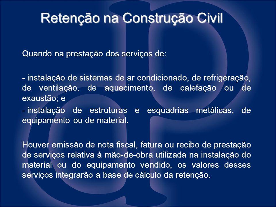 Retenção na Construção Civil