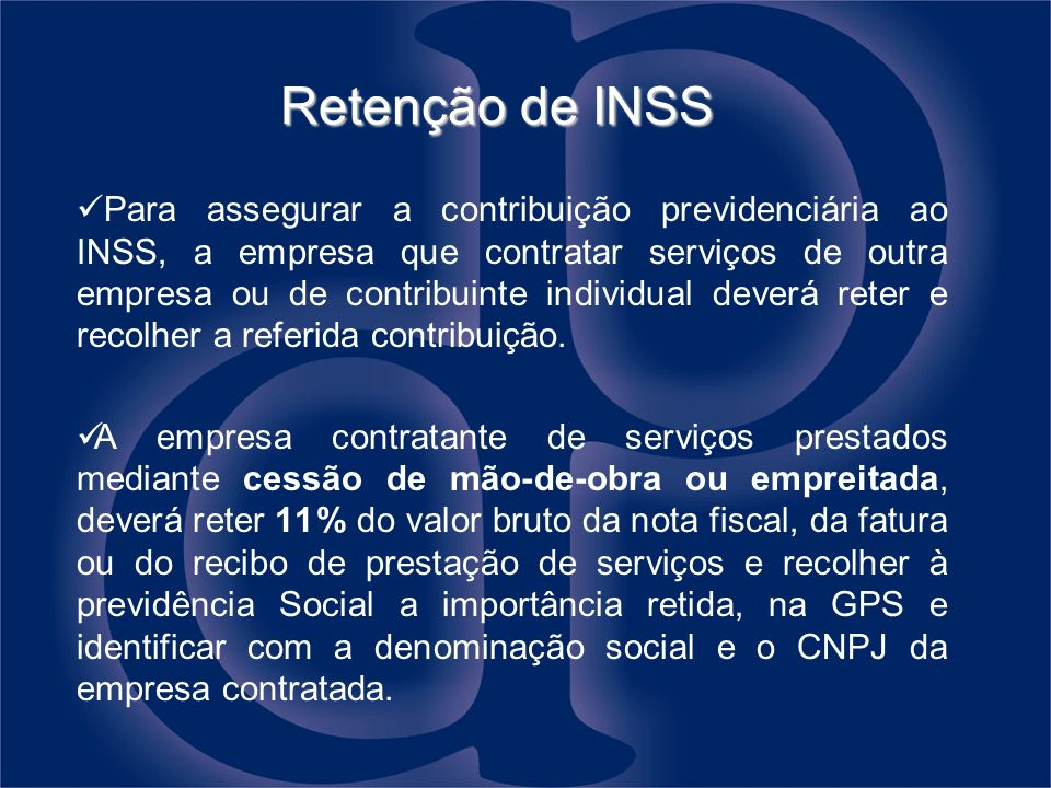 Retenção de INSS