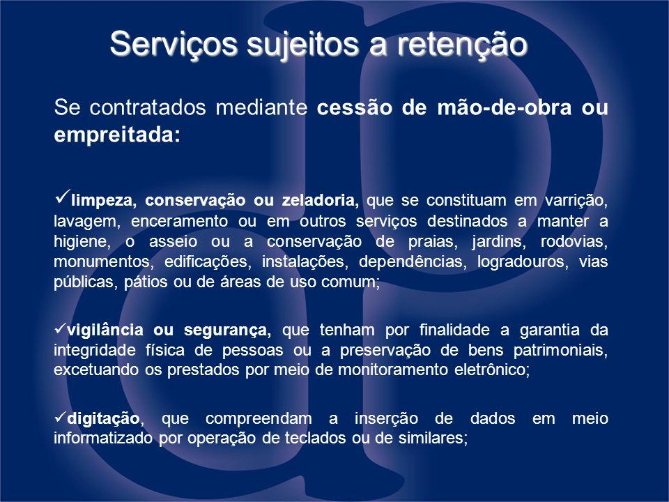 Serviços sujeitos a retenção
