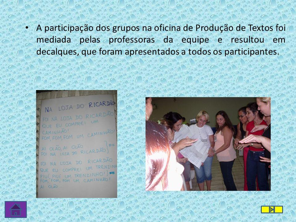 A participação dos grupos na oficina de Produção de Textos foi mediada pelas professoras da equipe e resultou em decalques, que foram apresentados a todos os participantes.