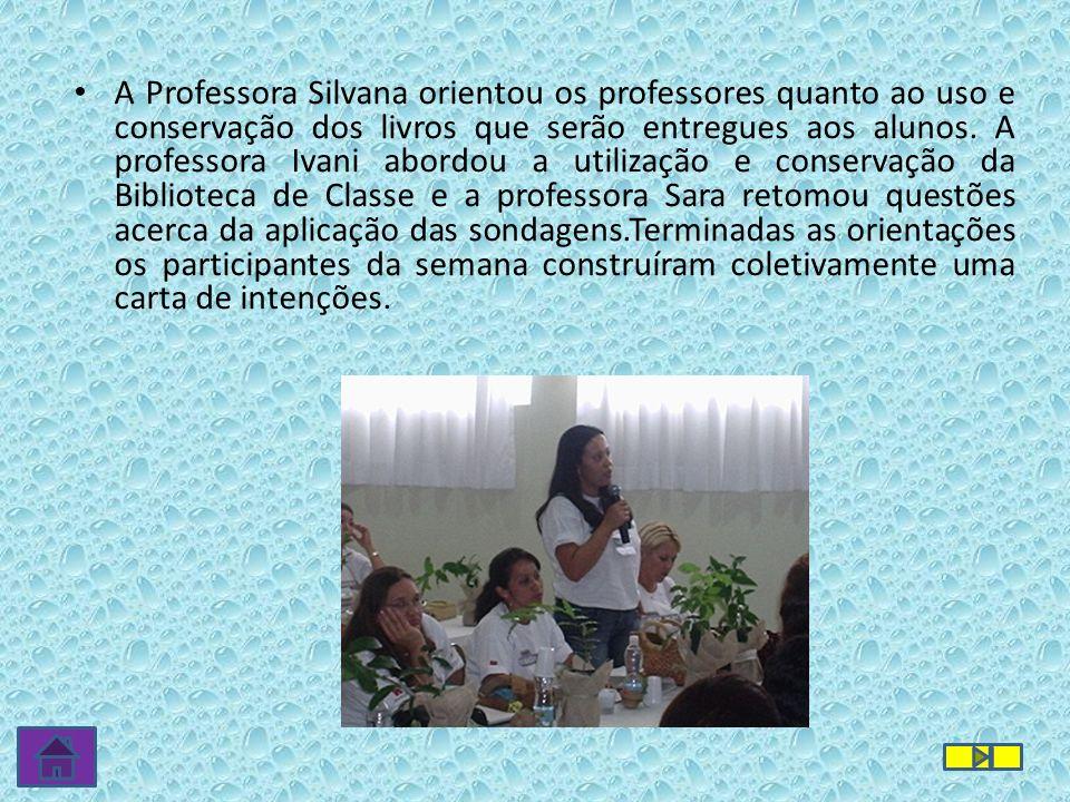 A Professora Silvana orientou os professores quanto ao uso e conservação dos livros que serão entregues aos alunos.