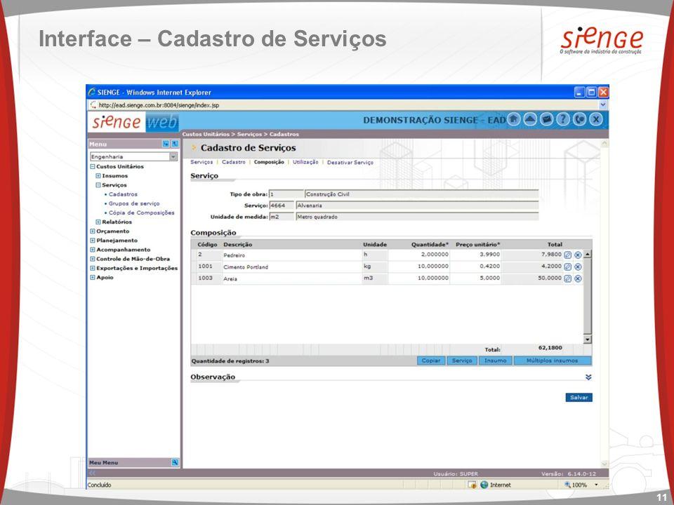 Interface – Cadastro de Serviços