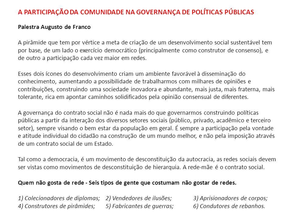 A PARTICIPAÇÃO DA COMUNIDADE NA GOVERNANÇA DE POLÍTICAS PÚBLICAS