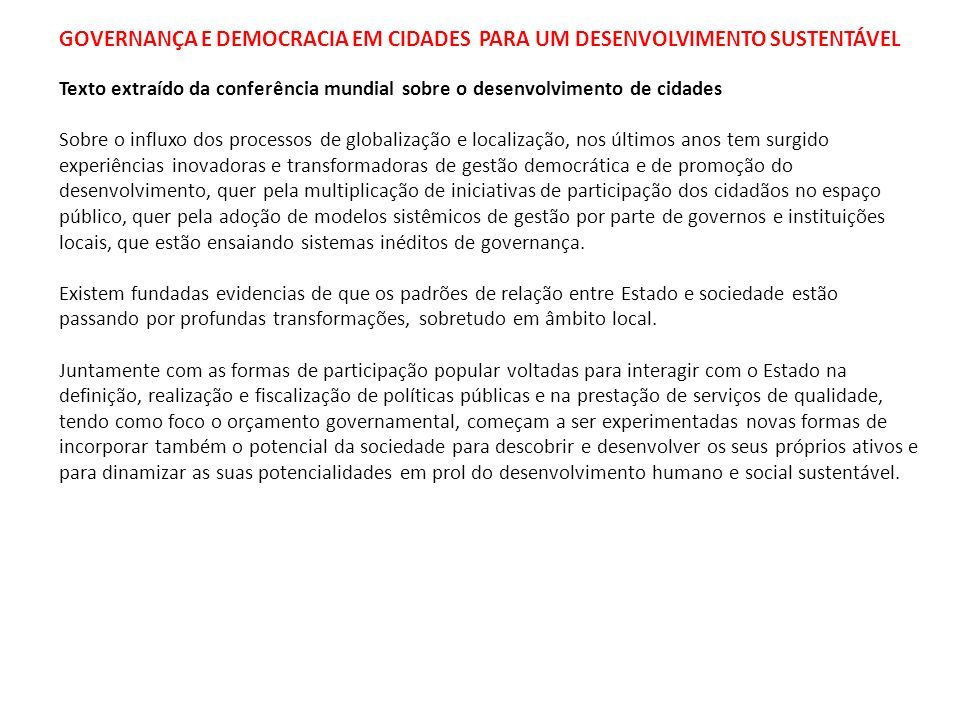 Governança e Democracia em Cidades para um Desenvolvimento Sustentável