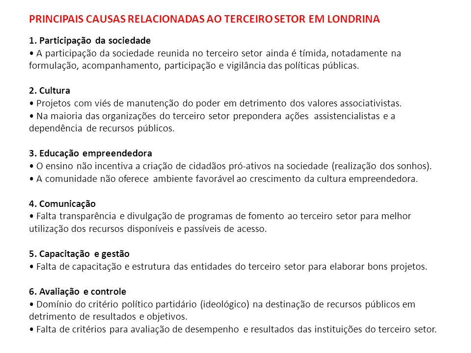 PRINCIPAIS CAUSAS RELACIONADAS AO TERCEIRO SETOR EM LONDRINA