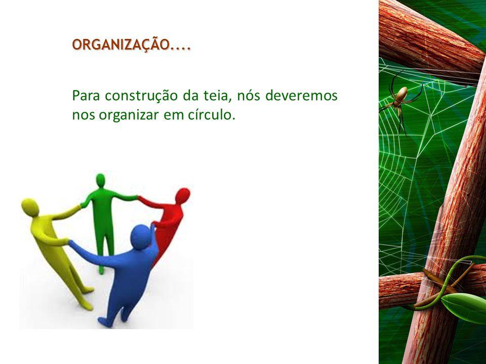 Para construção da teia, nós deveremos nos organizar em círculo.