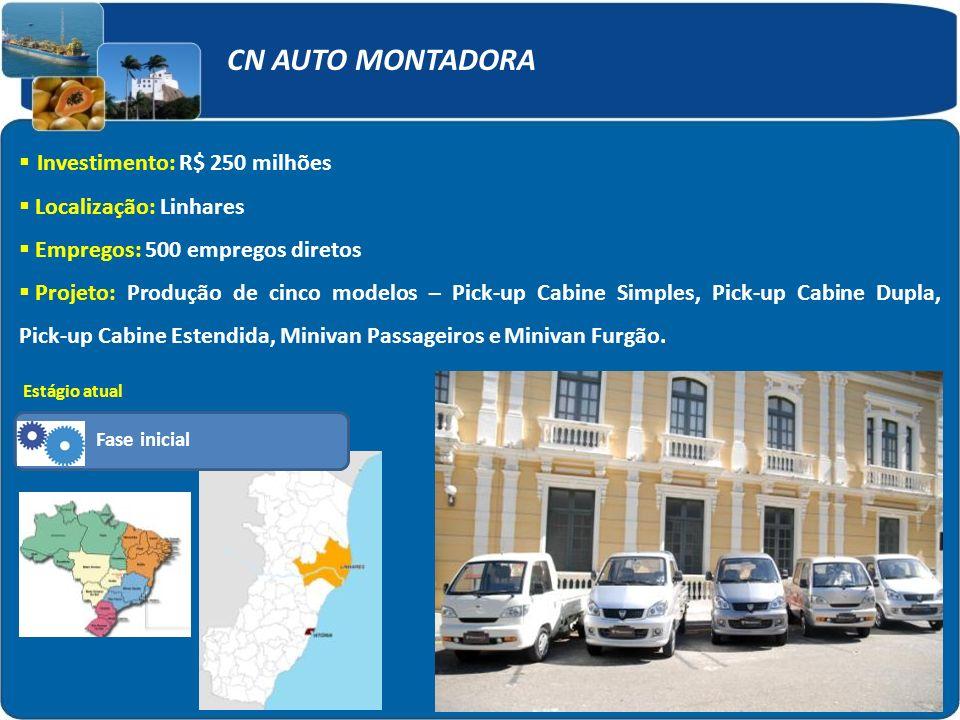 CN AUTO MONTADORA Investimento: R$ 250 milhões Localização: Linhares