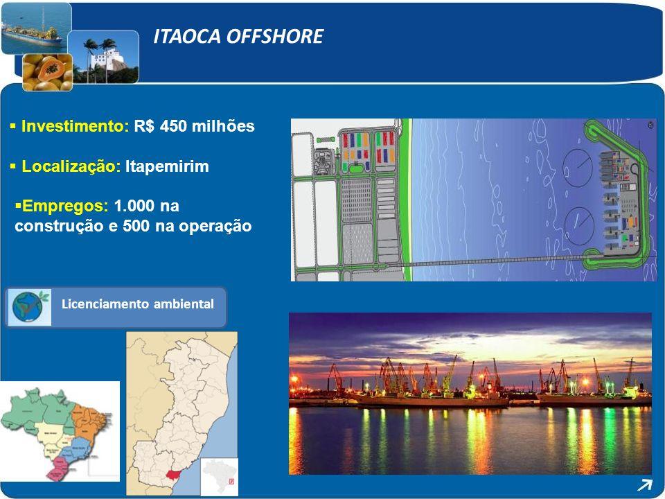 ITAOCA OFFSHORE Investimento: R$ 450 milhões Localização: Itapemirim