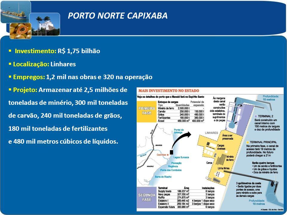 PORTO NORTE CAPIXABA Investimento: R$ 1,75 bilhão