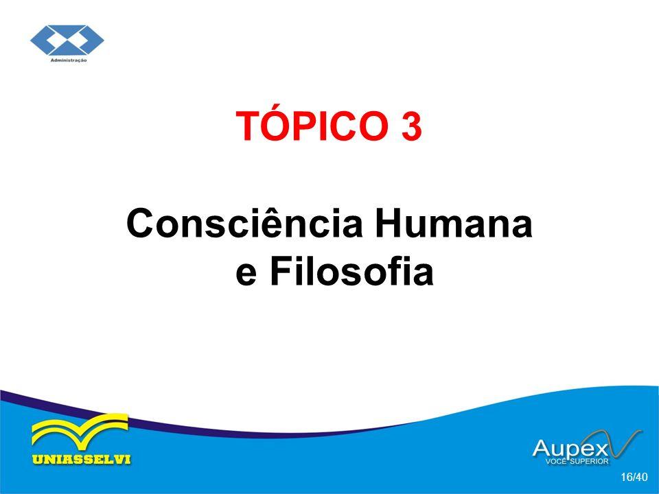 TÓPICO 3 Consciência Humana e Filosofia